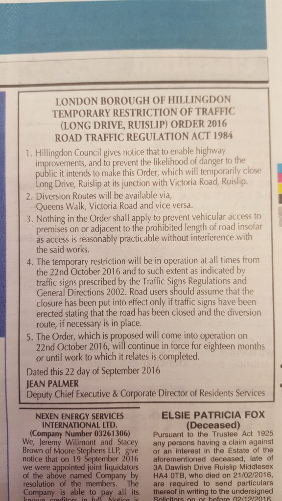 Long Drive / Victoria Road Junction Road Works